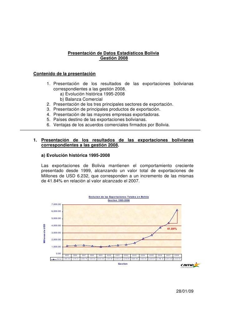 Presentación de Datos Estadísticos Bolivia                                                      Gestión 2008Contenido de l...