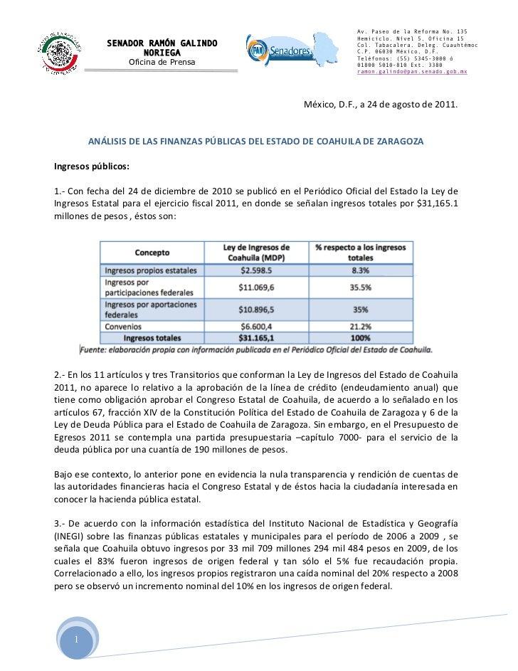 Analisis sobre las finanzas publicas del Estado de Coahuila