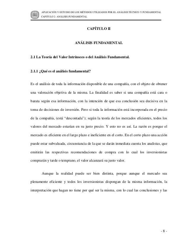 APLICACIÓN Y ESTUDIO DE LOS MÉTODOS UTILIZADOS POR EL ANÁLISIS TÉCNICO Y FUNDAMENTAL       CAPITULO 2: ANÁLISIS FUNDAMENTA...