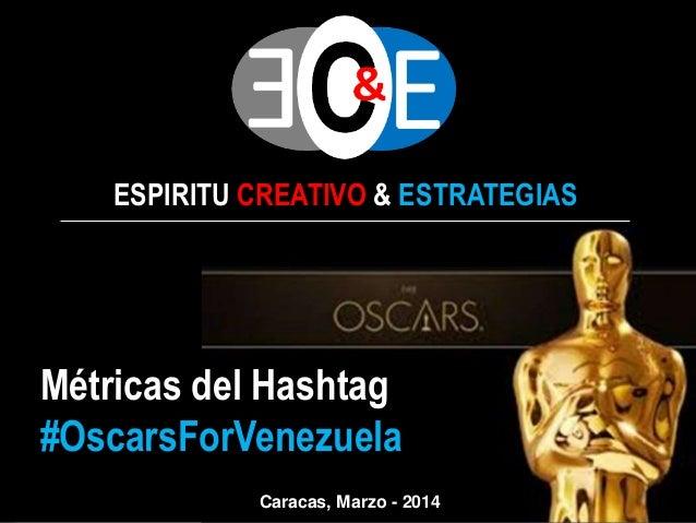 ESPIRITU CREATIVO & ESTRATEGIAS  Métricas del Hashtag #OscarsForVenezuela Caracas, Marzo - 2014