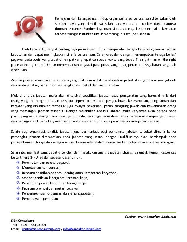 Jasa Konsultan Analisis jabatan (job analysis) dari Konsultan HR (Human Resources Management)