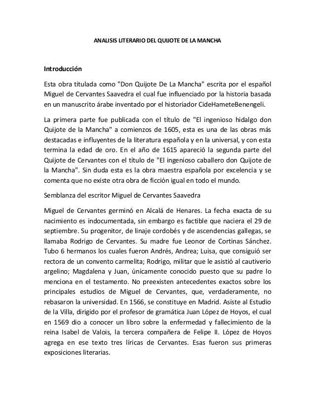 """ANALISIS LITERARIO DEL QUIJOTE DE LA MANCHA  Introducción Esta obra titulada como """"Don Quijote De La Mancha"""" escrita por e..."""