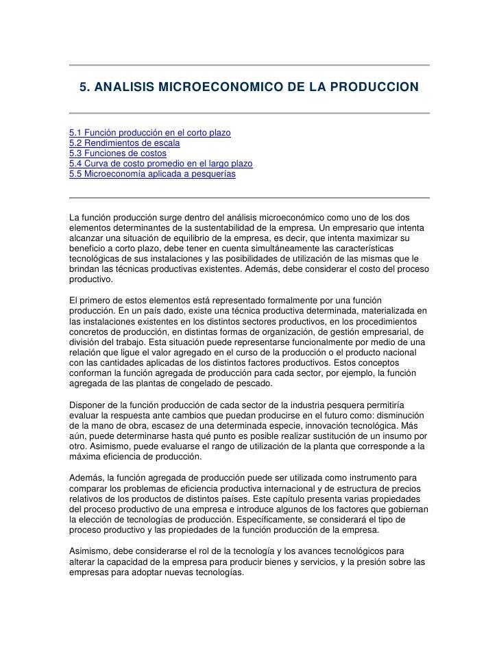 5. ANALISIS MICROECONOMICO DE LA PRODUCCION5.1 Función producción en el corto plazo5.2 Rendimientos de escala5.3 Funciones...