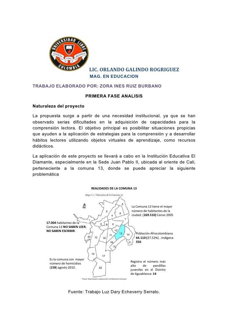 LIC. ORLANDO GALINDO ROGRIGUEZ                                  MAG. EN EDUCACIONTRABAJO ELABORADO POR: ZORA INES RUIZ BUR...