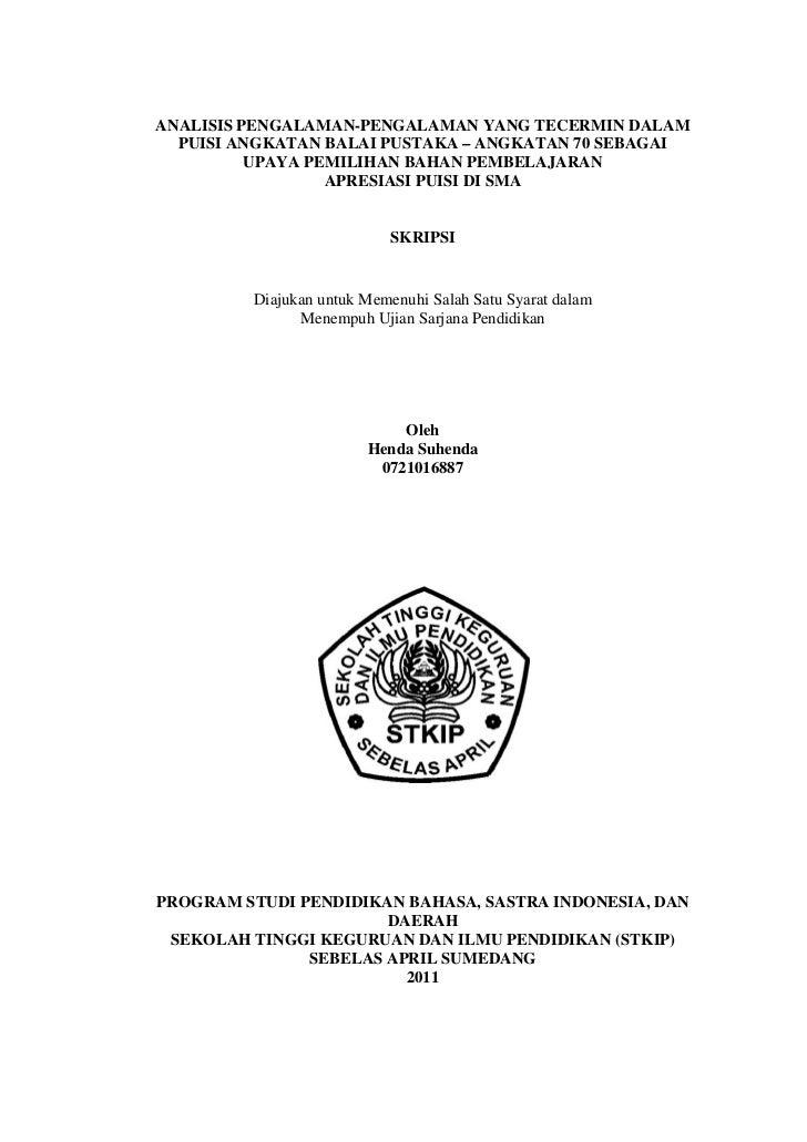 ANALISIS PENGALAMAN-PENGALAMAN YANG TECERMIN DALAM  PUISI ANGKATAN BALAI PUSTAKA – ANGKATAN 70 SEBAGAI          UPAYA PEMI...