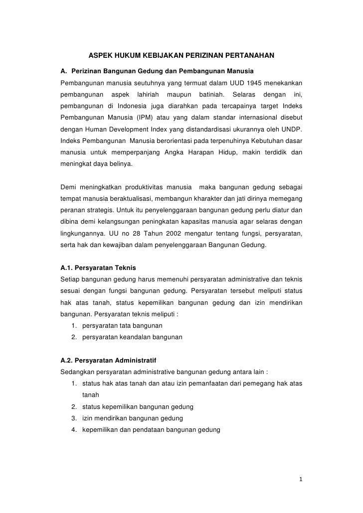 Analisis perizinan tata ruang (aspek hukum)
