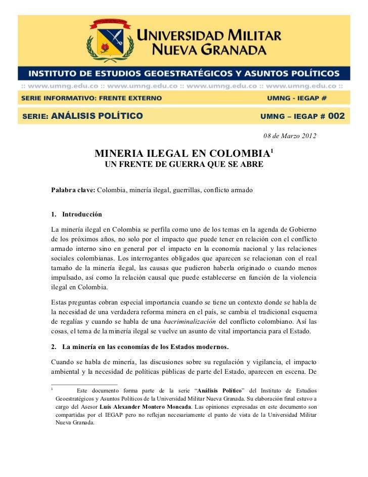 SERIE: ANÁLISIS POLÍTICO                                                                    UMNG – IEGAP # 002            ...