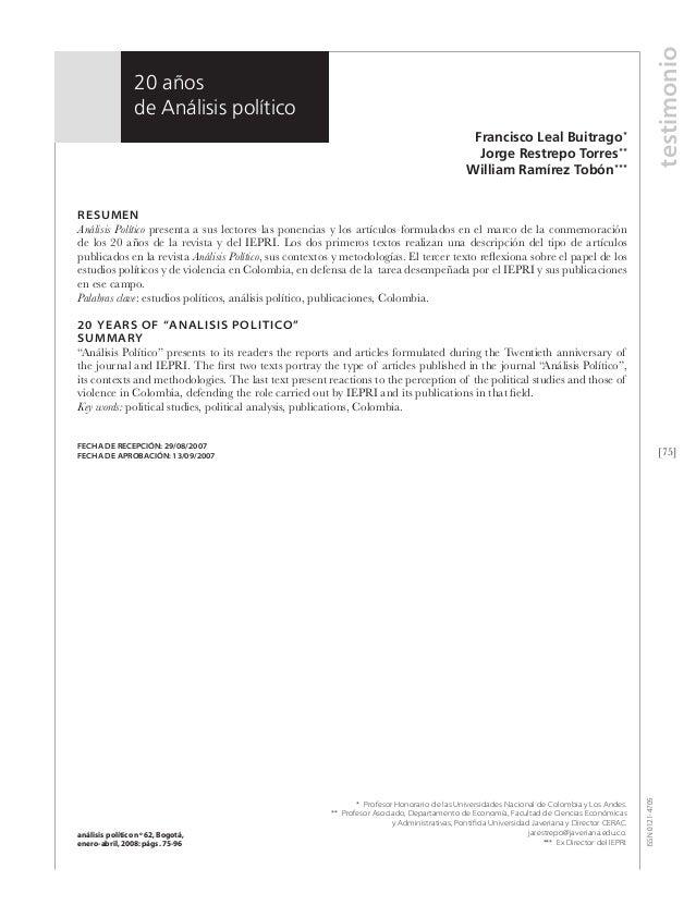 Análisis político 20 años Francisco Leal, Jorge Restrepo,William Ramírez análisis político nº 62, Bogotá, enero-abril, 200...