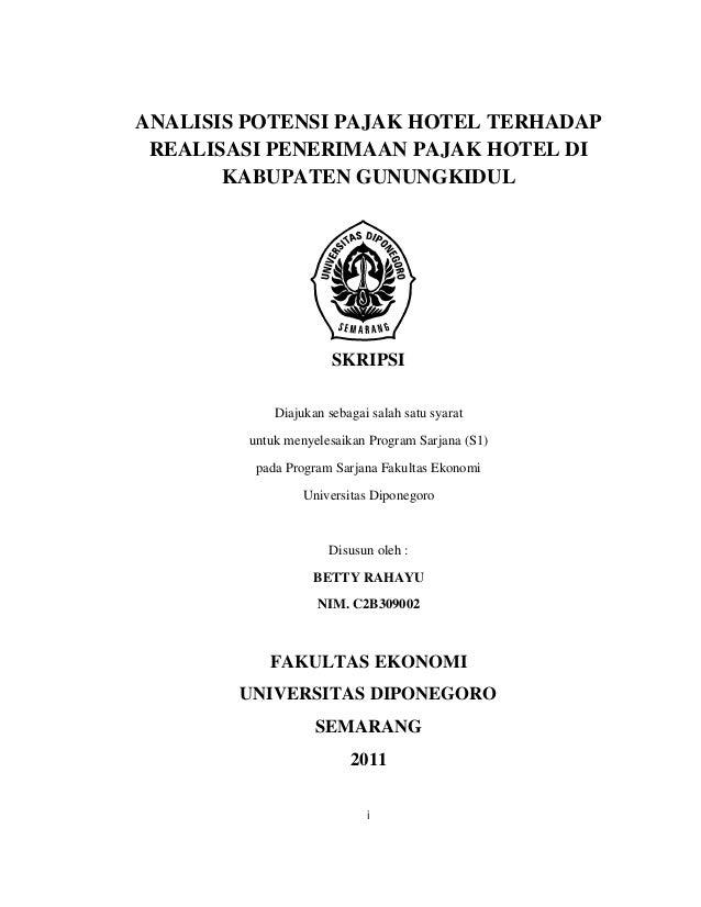 ANALISIS POTENSI PAJAK HOTEL TERHADAP REALISASI PENERIMAAN PAJAK HOTEL DI KABUPATEN GUNUNGKIDUL