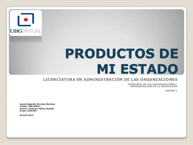 PRODUCTOS DE                                      MI ESTADO                     LICENCIATURA EN ADMINISTRACIÓN DE LAS ORGA...