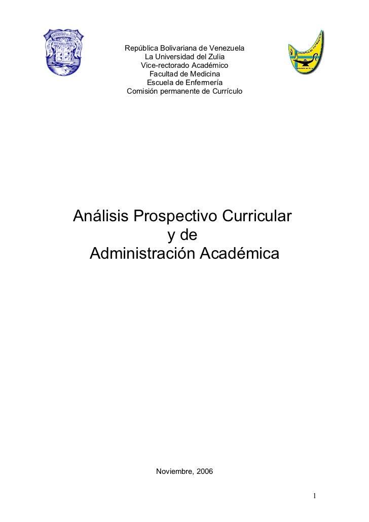 Analisis Prospectivo Curricular Y De Administracion Academica Escuela