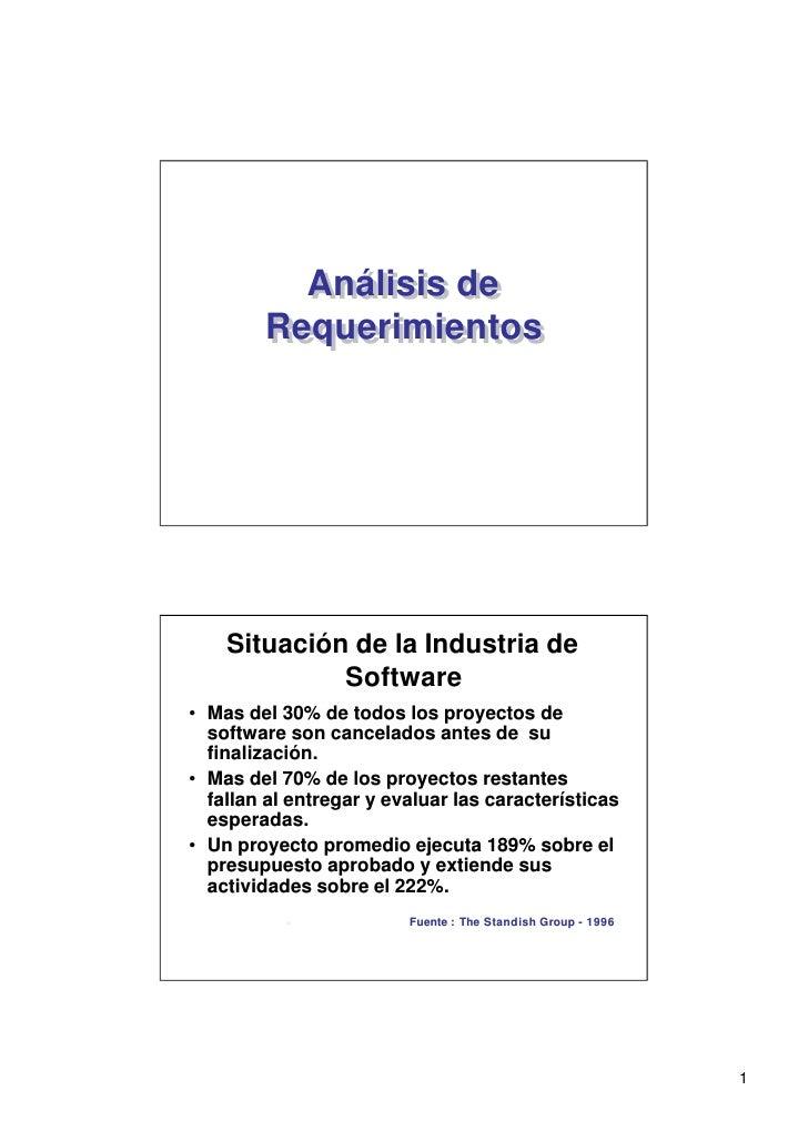Análisis de           Análisis de         Requerimientos         Requerimientos         Situación de la Industria de      ...