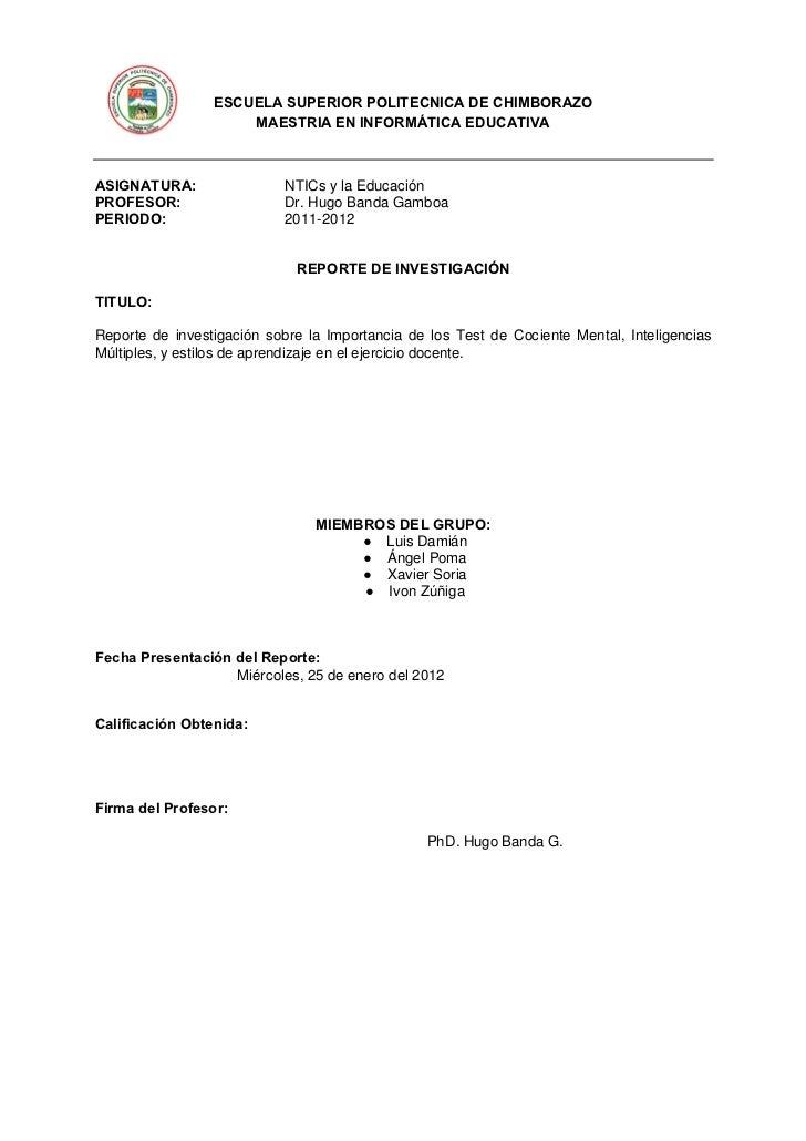 ESCUELA SUPERIOR POLITECNICA DE CHIMBORAZO                     MAESTRIA EN INFORMÁTICA EDUCATIVAASIGNATURA:               ...