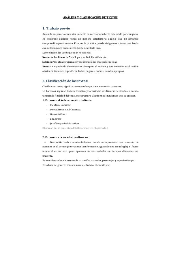 ANÁLISIS Y CLASIFICACIÓN DE TEXTOS1. Trabajo previoAntes de empezar a comentar un texto es necesario haberlo entendido por...