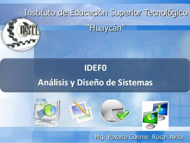 """IDEF0Análisis y Diseño de SistemasInstituto de Educación Superior Tecnológico""""Huaycán""""Mg. Yovana Connie Roca Avila"""