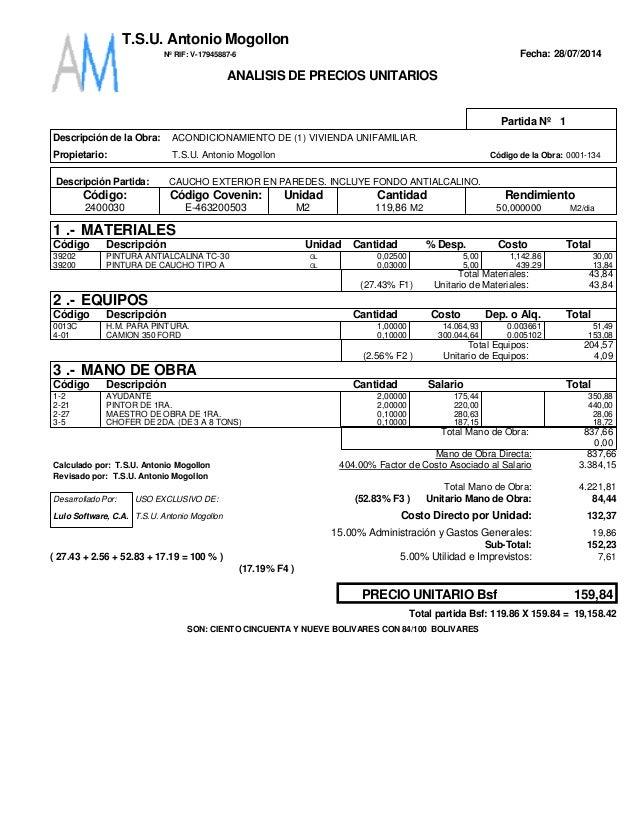 Fecha: 28/07/2014 1Partida Nº Descripción de la Obra: Propietario: T.S.U. Antonio Mogollon 0001-134Código de la Obra: Desc...