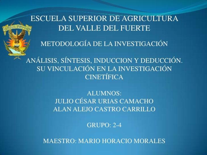 ESCUELA SUPERIOR DE AGRICULTURA  DEL VALLE DEL FUERTE<br />METODOLOGÍA DE LA INVESTIGACIÓN<br />ANÁLISIS, SÍNTESIS, INDUCC...