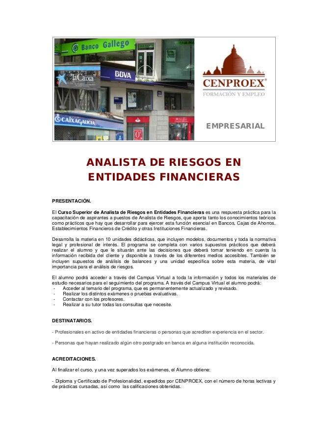 Analista de riesgos en entidades financieras