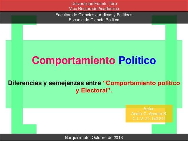 Universidad Fermín Toro Vice Rectorado Académico Facultad de Ciencias Jurídicas y Políticas Escuela de Ciencia Política  C...