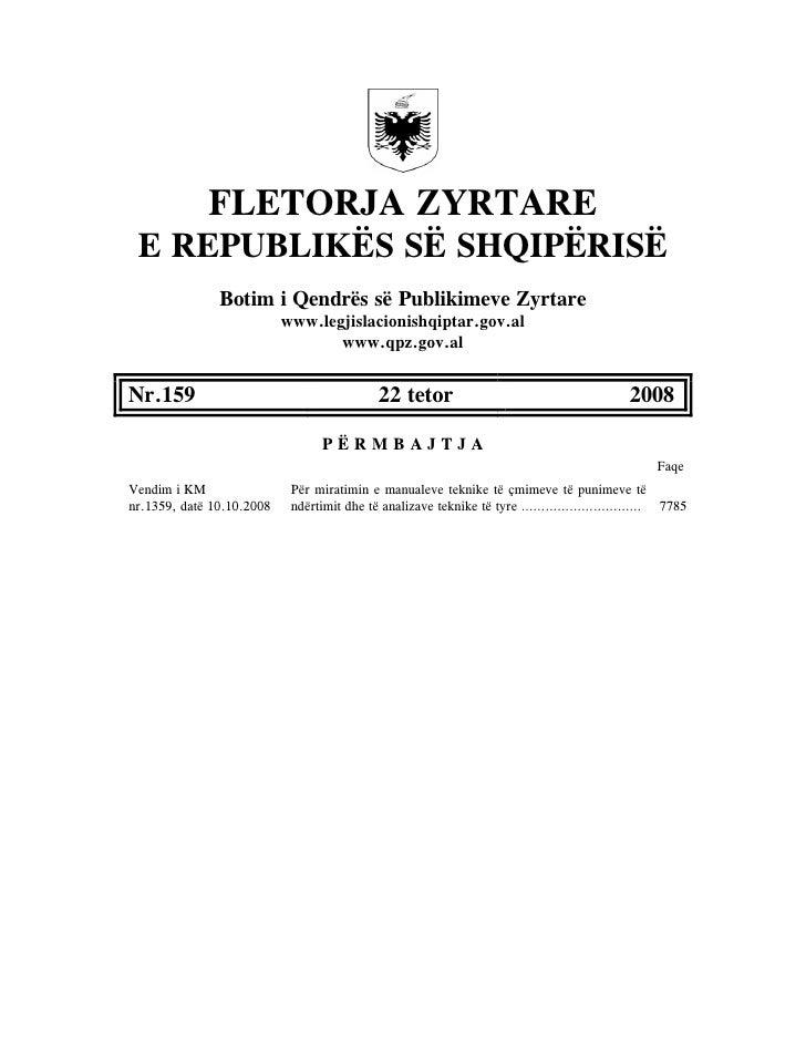 Analiza E Cmimeve 2008 (Fletore Zyrtare 159)