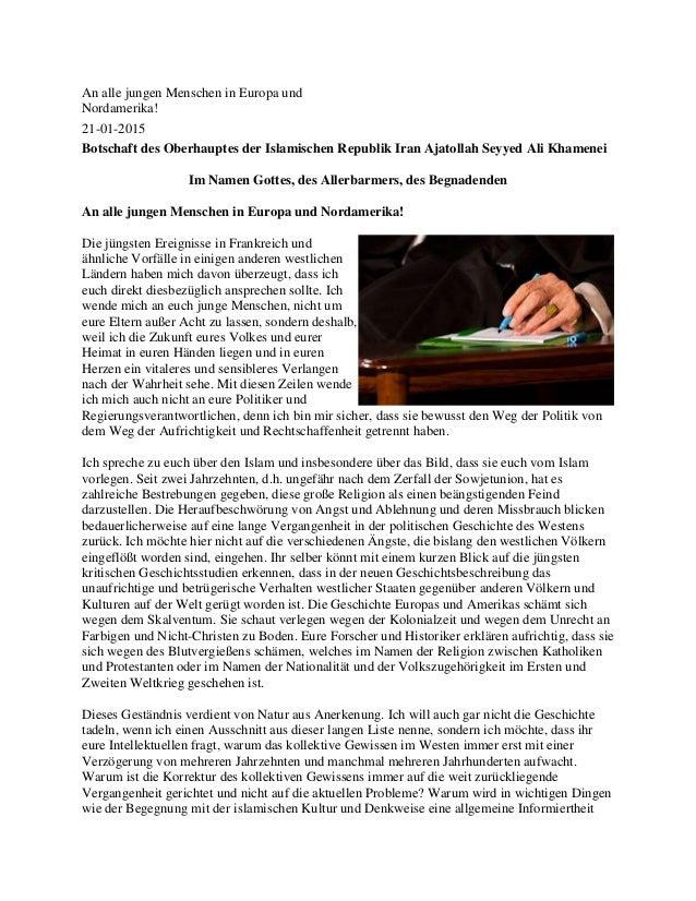 An alle jungen Menschen in Europa und Nordamerika! 21-01-2015 Botschaft des Oberhauptes der Islamischen Republik Iran Ajat...