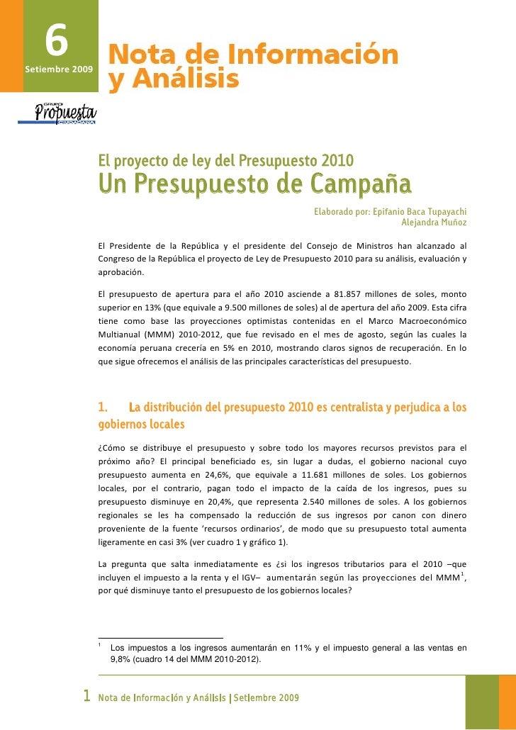 Analsis del Presupuesto 2010