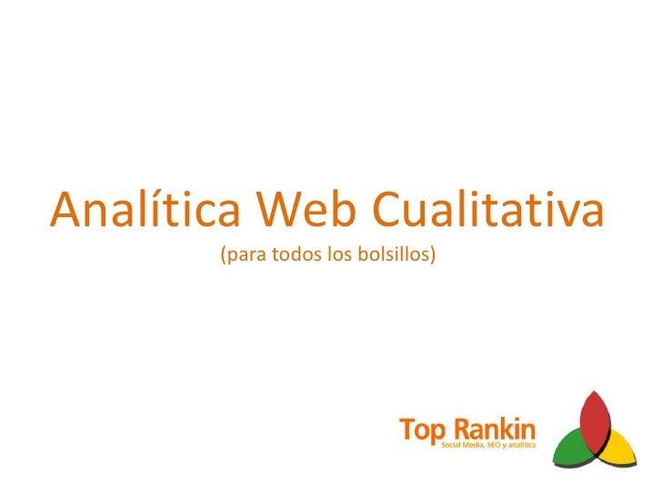 Analítica Web Cualitativa(para todos los bolsillos)<br />