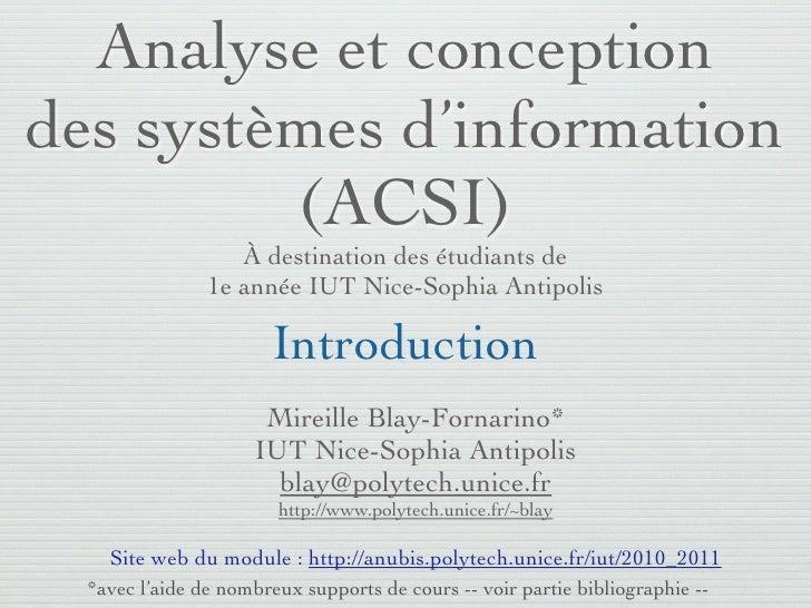 Analyse et conception    des systèmes d'information             (ACSI)                                  À destination des ...