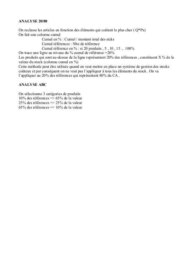ANALYSE 20/80 On reclasse les articles en fonction des éléments qui coûtent le plus cher ( Q*Px) On fait une colonne cumul...