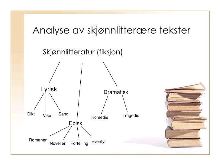 Analyse av skjønnlitterære tekster<br />Skjønnlitteratur (fiksjon)<br />Lyrisk<br />Dramatisk<br />Dikt<br />Sang<br />Vis...