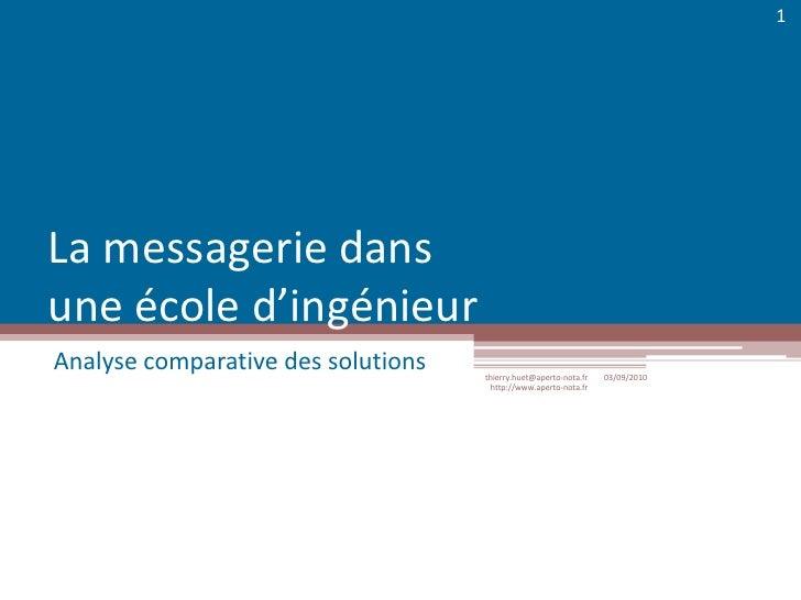 La messagerie dans une école d'ingénieur<br />Analyse comparative des solutions<br />03/09/2010<br />thierry.huet@aperto-n...
