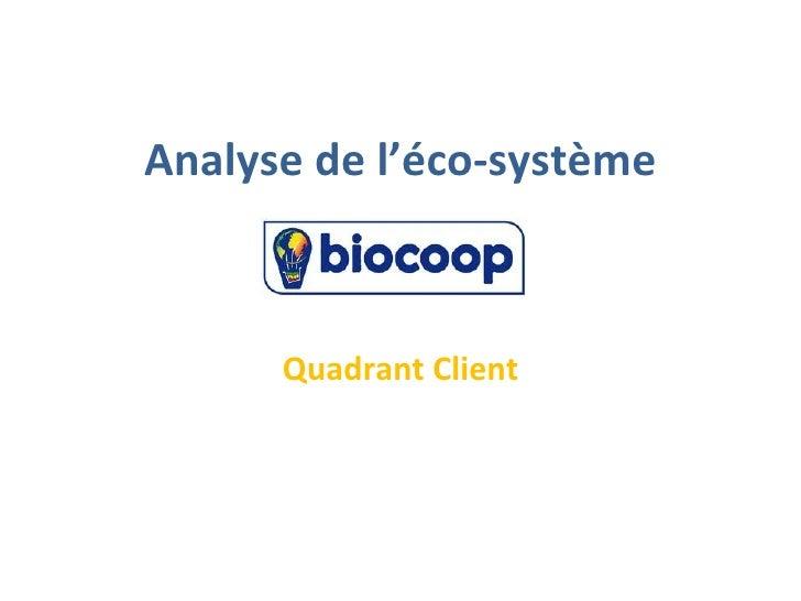 Analyse de l'éco-système      Quadrant Client