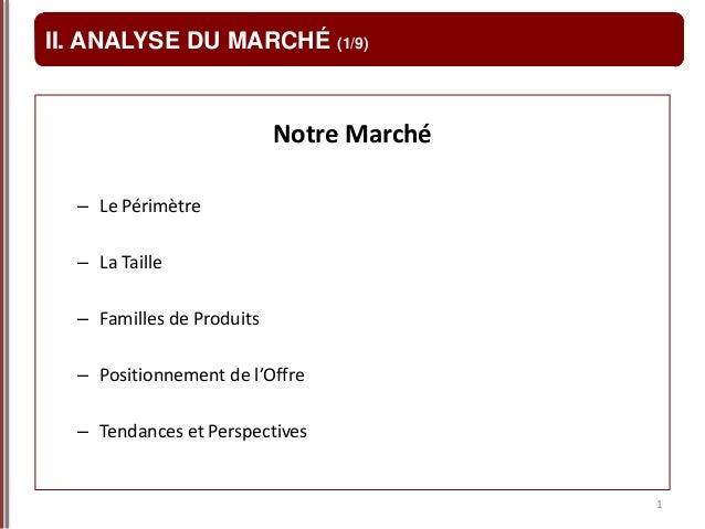 1 II. ANALYSE DU MARCHÉ (1/9) Notre Marché – Le Périmètre – La Taille – Familles de Produits – Positionnement de l'Offre –...
