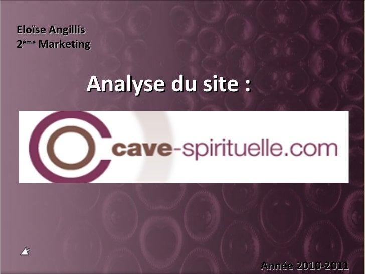 Analyse du site : Eloïse Angillis 2 ème  Marketing Année 2010-2011