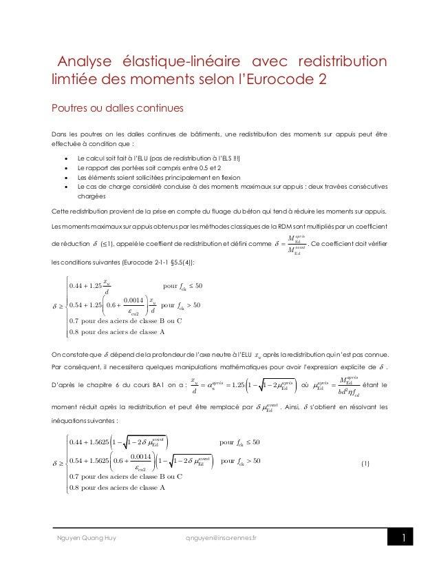 1Nguyen Quang Huy qnguyen@insa-rennes.fr Analyse élastique-linéaire avec redistribution limtiée des moments selon l'Euroco...