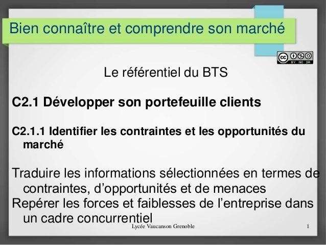 Bien connaître et comprendre son marché  Le référentiel du BTS  C2.1 Développer son portefeuille clients  C2.1.1 Identifie...