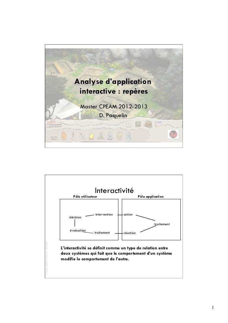 Analyse d'application                                                       interactive : repères                         ...
