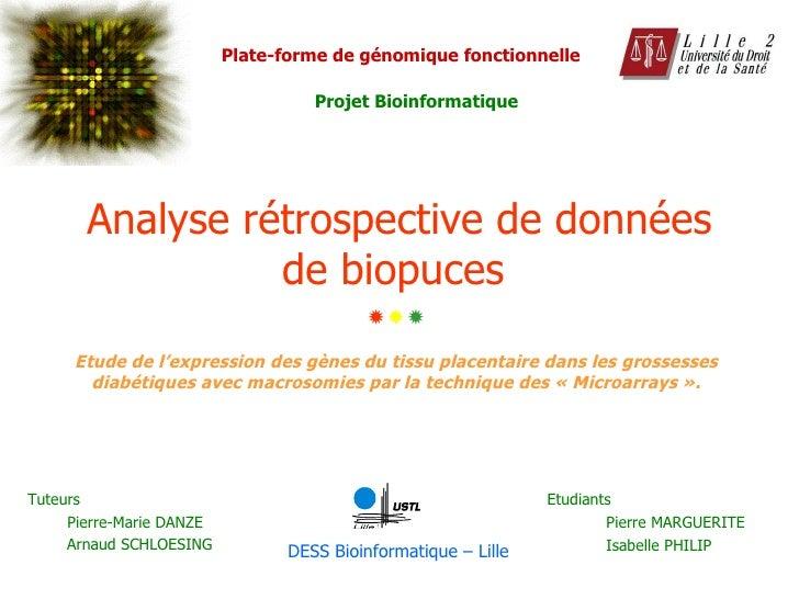 Analyse rétrospective de données de biopuces   Etudiants Pierre MARGUERITE Isabelle PHILIP Etude de l'expression des gènes...