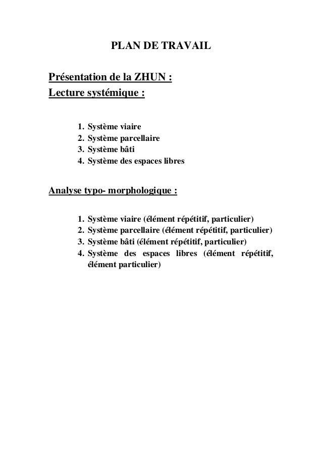 PLAN DE TRAVAILPrésentation de la ZHUN :Lecture systémique :1. Système viaire2. Système parcellaire3. Système bâti4. Systè...