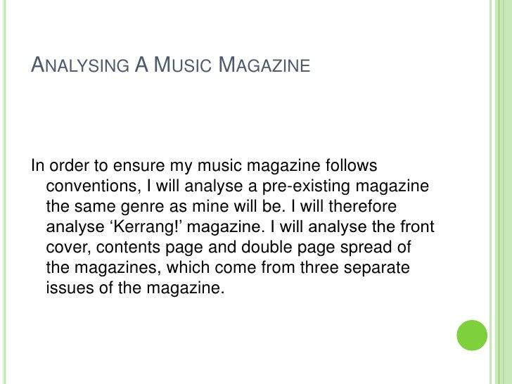 Existing Music Magazine Analysis