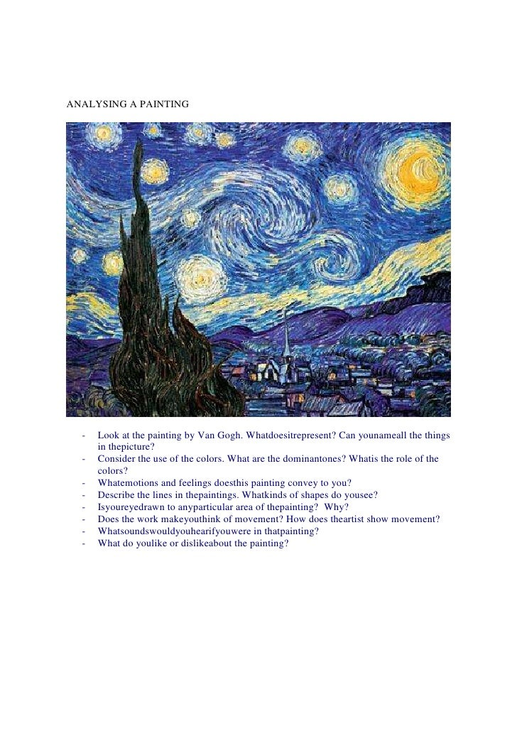 ANALYSING A PAINTING  -   Look at the painting by Van Gogh. Whatdoesitrepresent? Can younameall the things      in thepict...