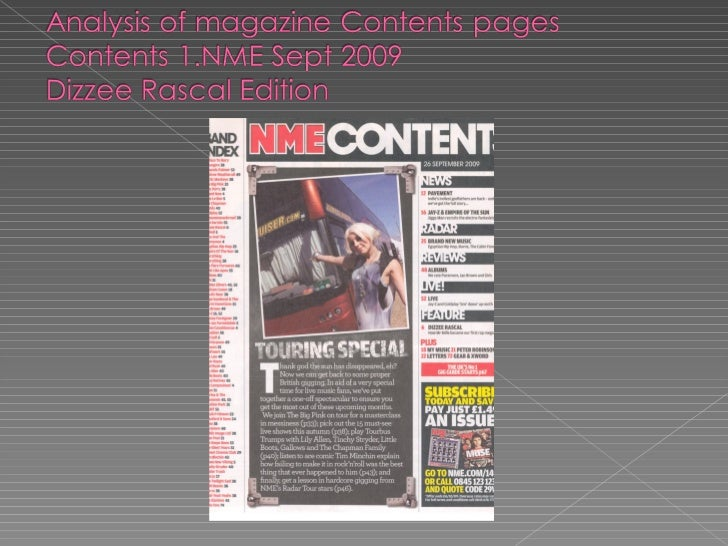 Music Magazine Analysis - Contents page