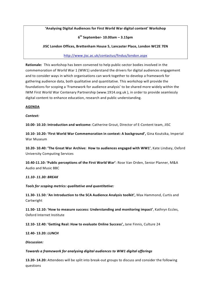 'Analysing Digital Audiences for First World War digital content' Workshop                                  6th September-...