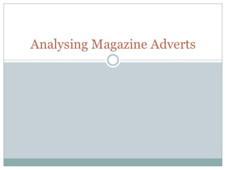 Analysing Magazine Adverts