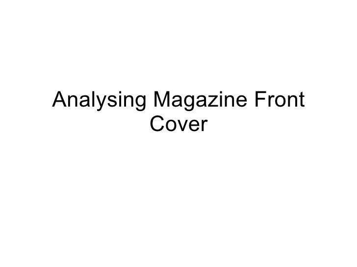 Analysing Magazine Cover