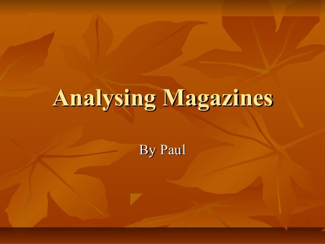 Analysing magazines123