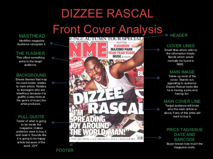 DIZZEE RASCAL Front Cover Analysis MASTHEAD Identifies magazine. Audience recognise it.  BACKGROUND Shows themes that may ...