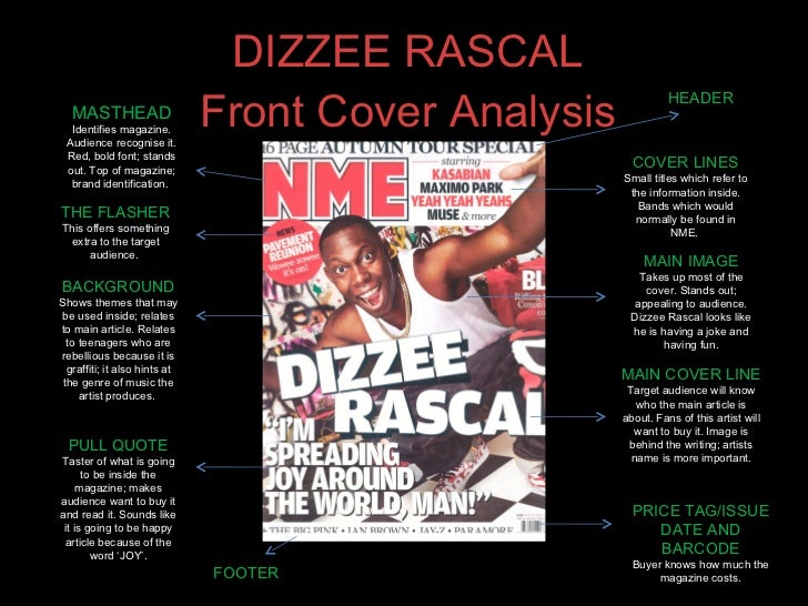 DIZZEE RASCAL Front Cover Analysis MASTHEAD Identifies magazine. Audience recognise it. Red, bold font; stands out. Top of...