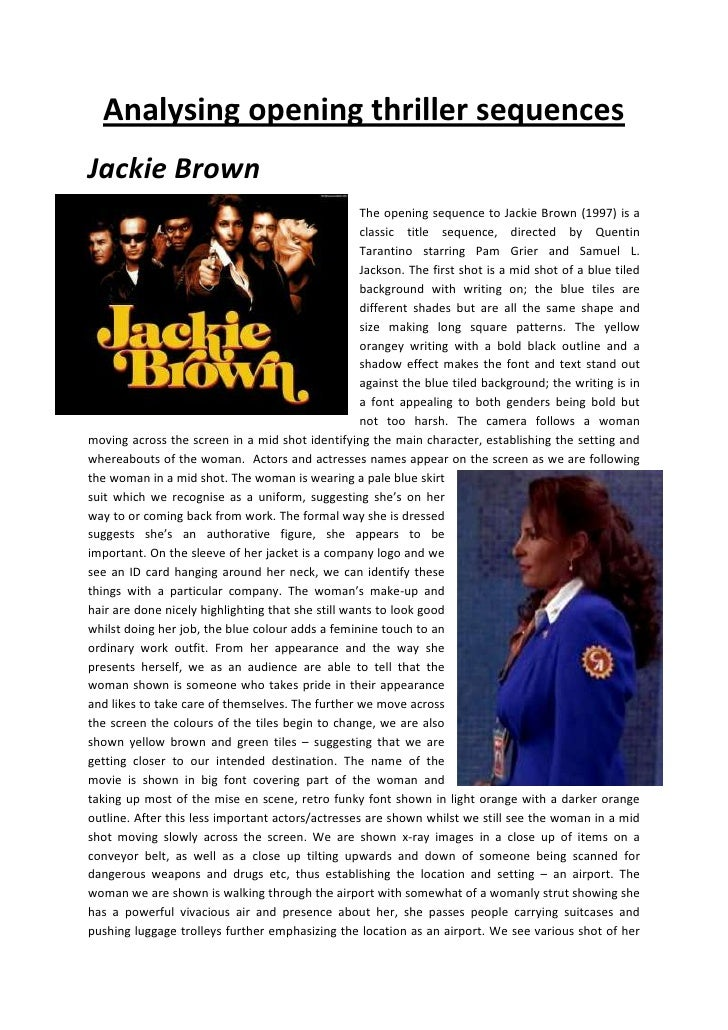 Analysing opening thriller sequences, Jackie Brown