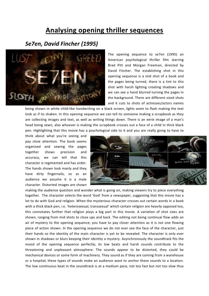 Analysing opening thriller sequences<br />-704850359410Se7en, David Fincher (1995)<br />-6381753028950The opening sequence...